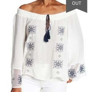 NWT PPLA Jael Off the Shoulder Tassel Blouse Top